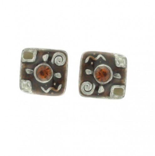 Square earring with stone