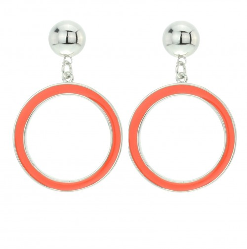 Colored circle earrings