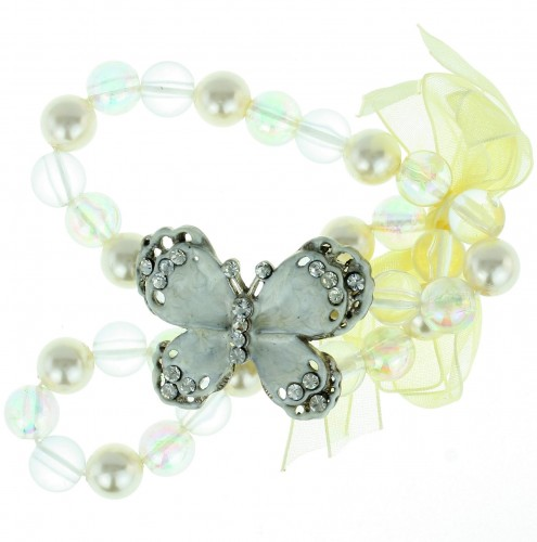 Witte armband met vlinder en strik